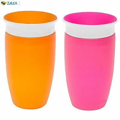 Munchkin Miracle 360 Sippy Cup, Pink/Orange 10 Ounce 2 Count Drinkware BPA Free
