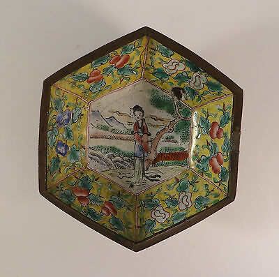 Antique Chinese Cloisonne Enamel Bowl Engraved Brass Exterior China