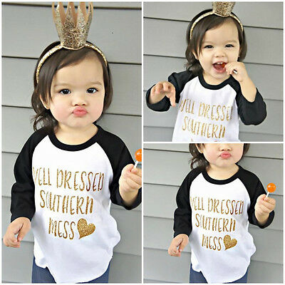 Toddler Kids Baby Girl Long Sleeve Cotton T-shirt Tops Tee Clothes 0-5T US Stock