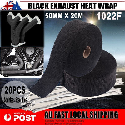 50MM X 20M BLACK EXHAUST HEAT WRAP 2000F + 20 STAINLESS STEEL TIES AU Local