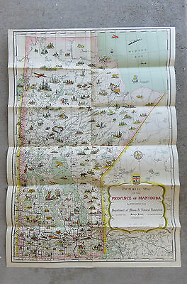 Original  1948 1949 Color Whimsical Pictorial Map of Manitoba Canada