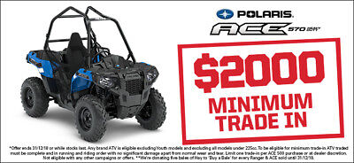 NEW 2018 Polaris ACE 570.  $ave $1,500
