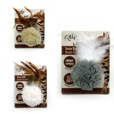 All For Paws Lamb Cat Kitten Snow Ball Catnip Feather Toy 5cm (Colours Vary)