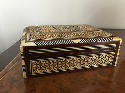 Vintage Middle Eastern Hand Decorated Bovine And Mop Inlaid Table Box