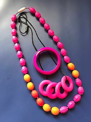 2 Brand New Food Grade Silicone Teething Necklaces And Matching Bracelet