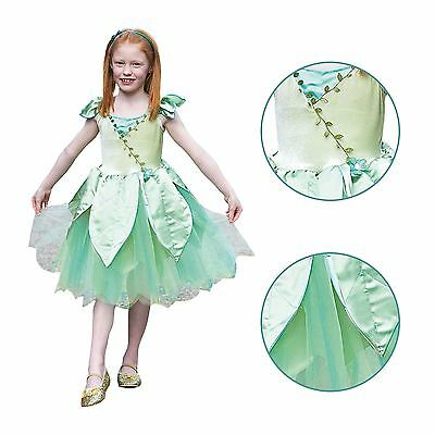 Childs Girls Deluxe Forest Leaf Fairy Woodland Nymph Fancy Dress Party Costume