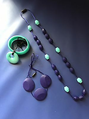 3 Brand New Food Grade Silicone Teething Necklaces And Matching Bracelet