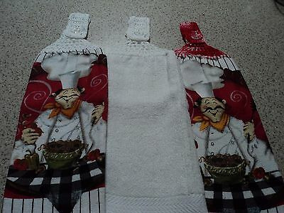 3 Hand Towels, Double sided, Crochet Tops (37A)