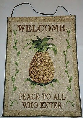 WELCOME (Pineapple) PEACE TO ALL WHO ENTER small tapestry wall/door hanging