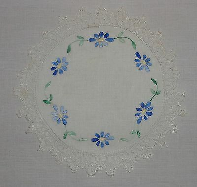 Vintage/antique Embroidered Linen Doilies/doiley Crochet Edge-Blue Daisy Flowers