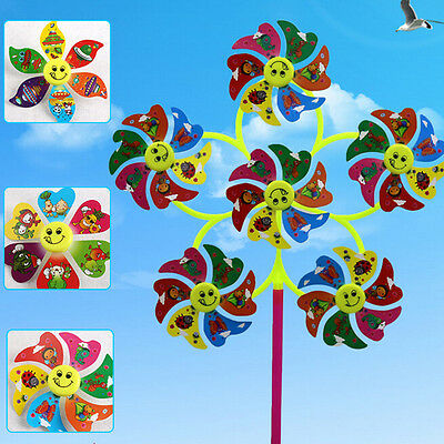 1 Piece 30*50cm DIY Smile Face Rarge Windmill Colorful Wind Spinner Kids Toys BD