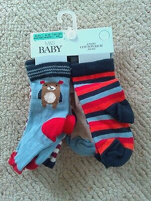 Baby socks 4 Pairs of Cotton Socks 6-12 months