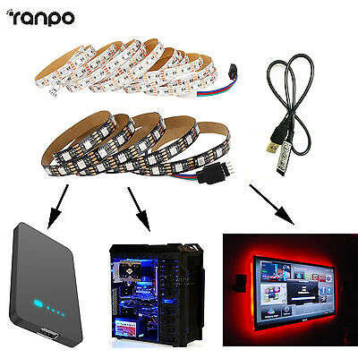 5V 5050 LED RGB Strip Lights Bulbs Lamp For TV Power Bank PC With USB Controller