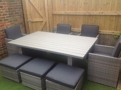 Large family rattan garden table and chairs, table is brand new
