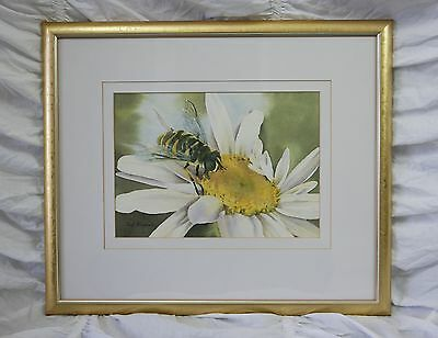 Exquisite original watercolour painting bee pollinating flower by Sue Boxshall