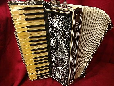 Vintage Pre-War Piano Accordion Galanti LMMM 41/120 FOR PARTS OR REPAIR