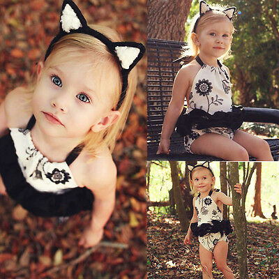 Newborn Infant Gir Summer White Romper Outfits Bodysuit Clothes costume US Stock