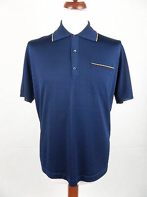 Vtg 1970s Blue & Gold Acetate / Nylon Banlon Style Polo Shirt -L Mod Weller DY53