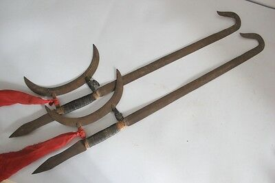 Antique Pair Chinese Iron Hook Weapons