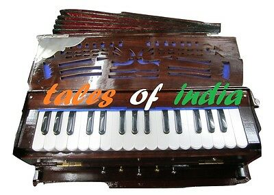 Mini Harmonium~Portable~3 Octave~5 Stopper~7 Fold Bellow~Double Reed~Teak Wood