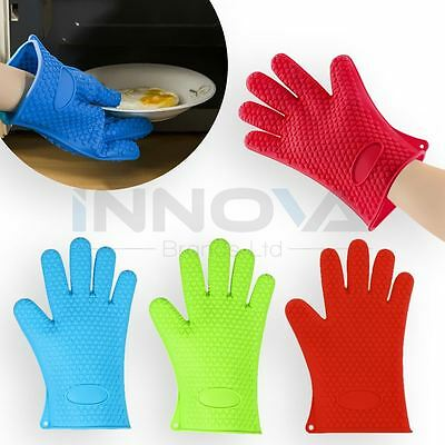 Kitchen Oven Glove Heat Resistant Silicone Holder Baking BBQ Cook Mitts