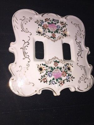 ROSE Vintage Arnart Creations Ceramic Double Light Switch Plate Floral S 7311