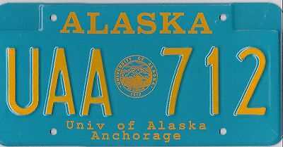 🏁 🏁 🌟🌟🌟 AUTHENTIC USA 90's ALASKA ANCHORAGE LICENSE PLATE.