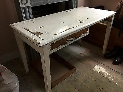 Antique Shabby Chic Two Drawer Hardwood Kitchen Table For Restoration