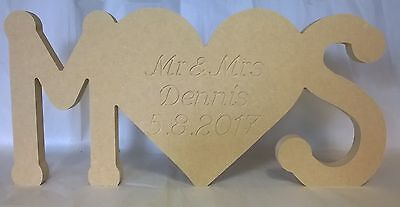 Wooden 18mm MDF Standing Initials with engraved heart - Wedding