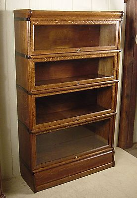 Antique Oak Globe Wernicke 4 Section Stacking Bookcase
