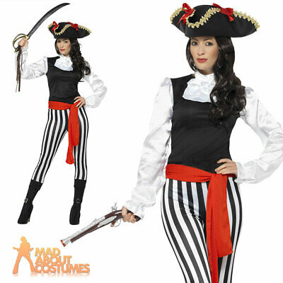 Adult Pirate Lady Costume Caribbean Buccaneer Womens Fancy Dress Outfit