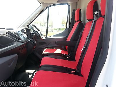 Ford Transit Custom 2013 + Seat Covers Red - Black Fabric Tailored To Fit