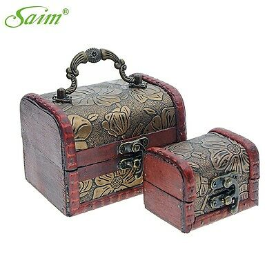Antique Wooden Box Handmade Trinket Storage Keepsake Jewelry Name Card Gift