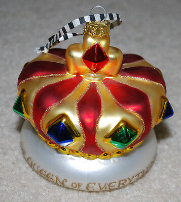 """Mary Engelbreit Vintage Handblown Glass Ornament Crown Queen of Everything ME 4"""""""