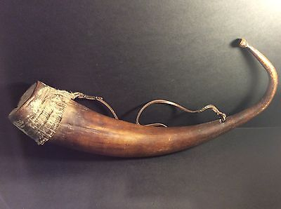 Antique bovine horn water flask/carrier with attached bovine hide cup/lid