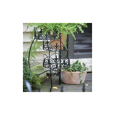 NEW Panacea 89179 Plant Stand 3 Tier Finial Blk