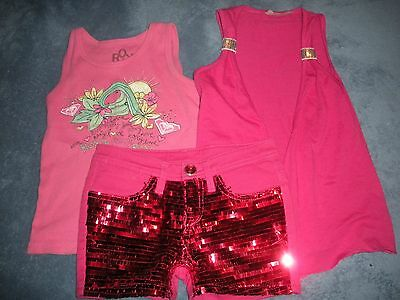 ROXY Beautees Hot Pink Girl  Sz 5 6 Shorts Tank Top 3 pc Outfit Gently worn EUC