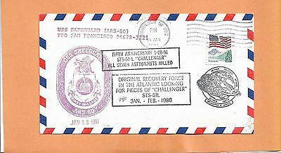 U.S.S. SAFEGUARD 5th ANNIV CHALLENGER 51-L TRAGEDY LOOK FOR PIECES JAN 28,1991