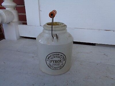 Vintage Bowkers Poison Stoneware Jar Crock Insecticide Co Boston Mass Handle