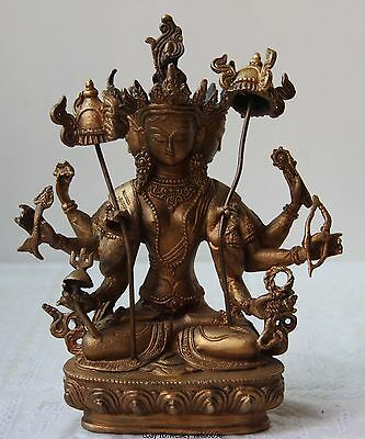 Tibet Buddhism Bronze Gilt Usnisa sitatapatra Three Face Eight Arms hands Buddha
