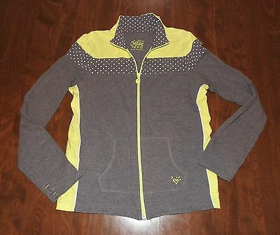 JUSTICE Gray & Yellow Zip Jacket Size 16