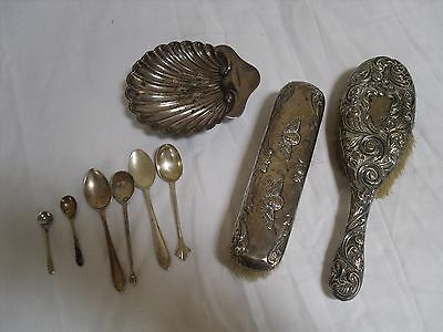 JOB LOT SOLID SILVER ITEMS FOR SCRAP 120grms PLUS SILVER BRUSHES