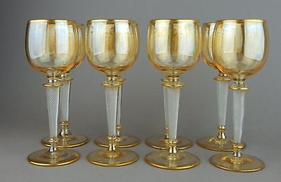 FOUR St. Louis Gold Gilt Champagne Crystal Goblets w. Air Twist Stems