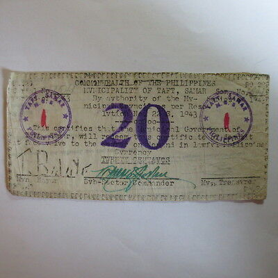Philippines Emergency Currency SMR863? Taft 1st Issue Res 22 20 Centavos RARE
