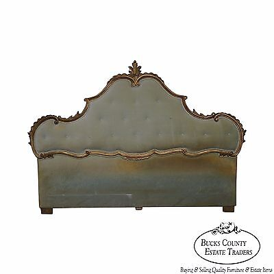 Italian Gilt Wood Louis XV Style Upholstered King Size Headboard circa 1950s
