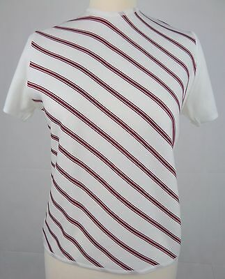 Ladies 1970s Diagonal Stripe Short Sleeve Poly Knit Top Size 12 Mod DY60