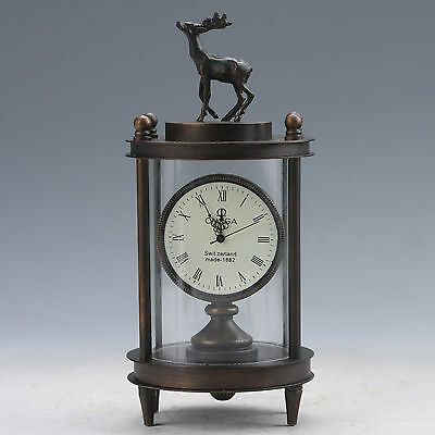 China Old Copper Glass Mechanical Table Clock With Deer Z105