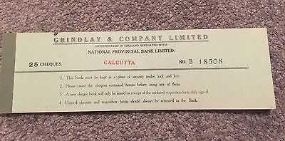 Cheque Book Calcutta - Grindlay And Company Containing 25 Cheques