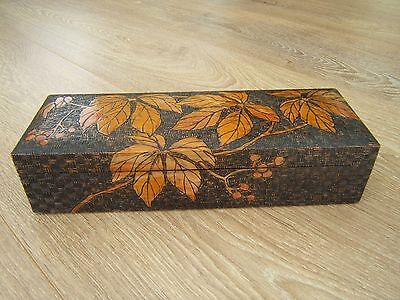 Wonderful Large Pokerwork Carved Antique Jewellery Box - Fab Interior