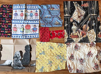 8 Antique And VIntage 1920-70's  Print Fabric Pices!!